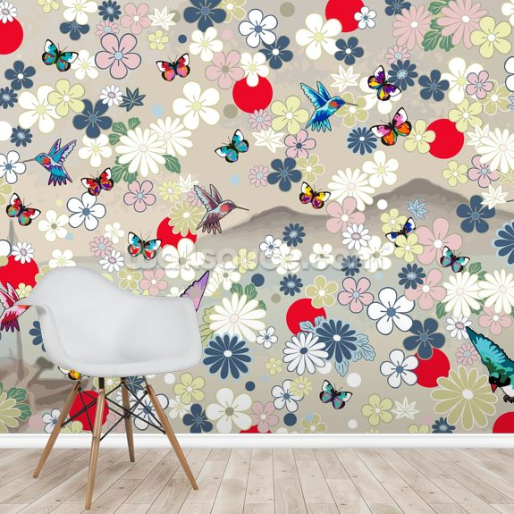 Butterfly and Birds wall mural room setting