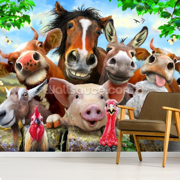 Farm Selfie wallpaper mural room setting