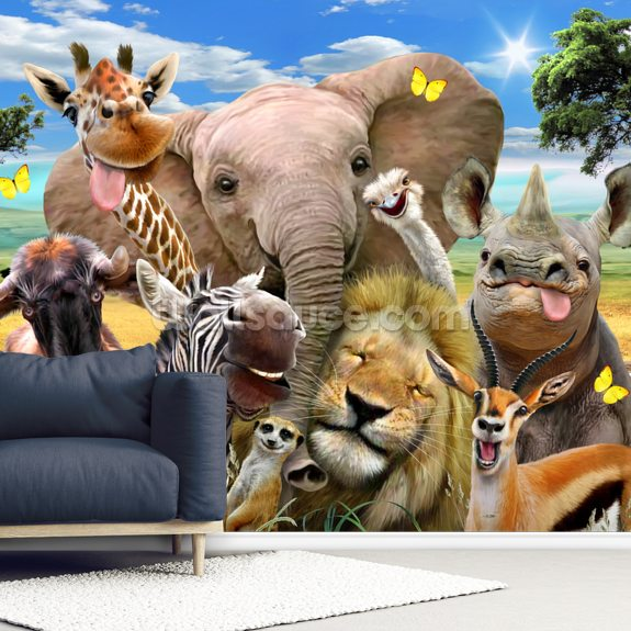 Africa Selfie wallpaper mural room setting