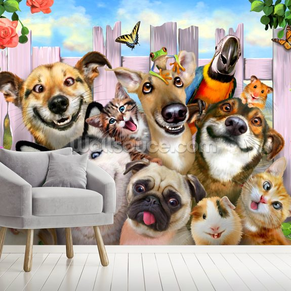 Pet Selfie wallpaper mural room setting