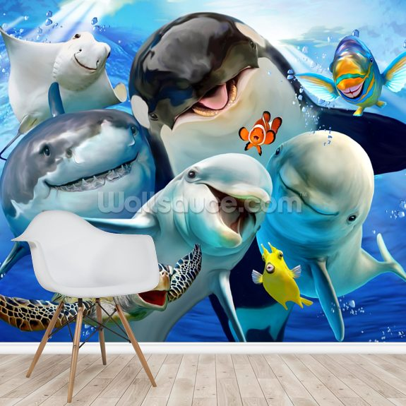 Ocean Selfie wallpaper mural room setting