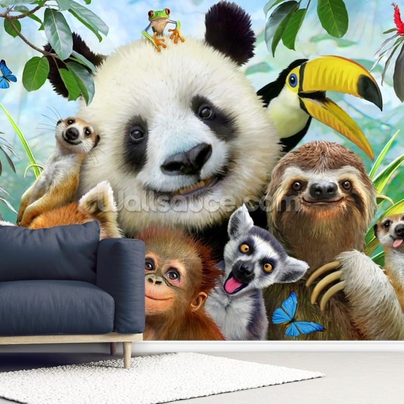 Zoo Selfie wallpaper mural room setting