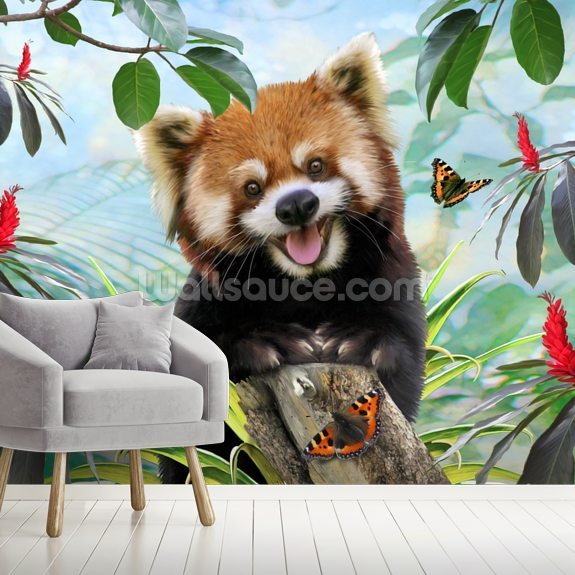 Lesser Red Panda Selfie wallpaper mural room setting