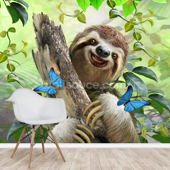 Sloth Selfie wallpaper mural room setting
