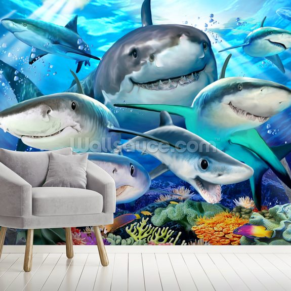 Shark Selfie wallpaper mural room setting