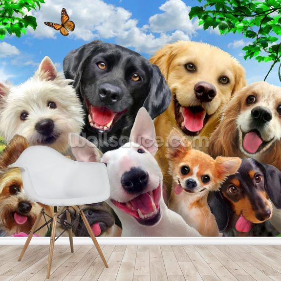Dogs Selfie Wall Mural Wallsauce Us