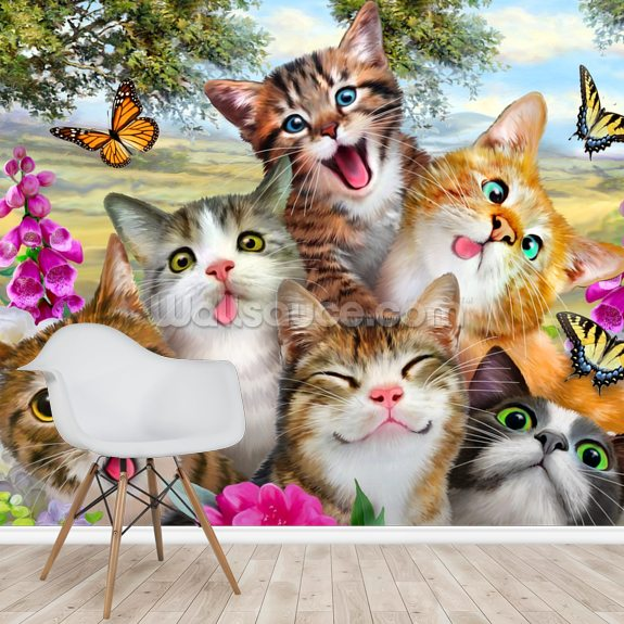 Cat Selfie wall mural room setting
