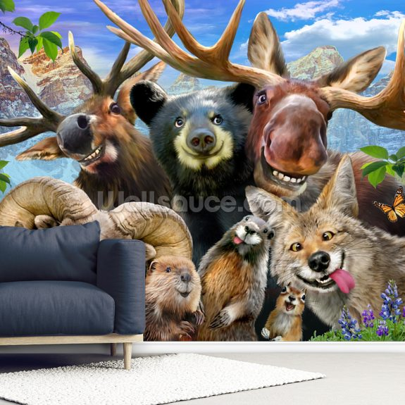 Rocky Mountain Selfie wall mural room setting