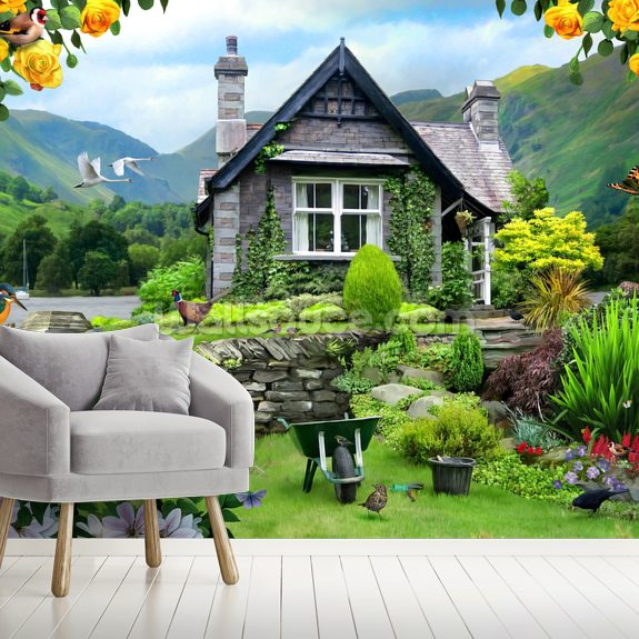 Lakeland cottage wall mural room setting