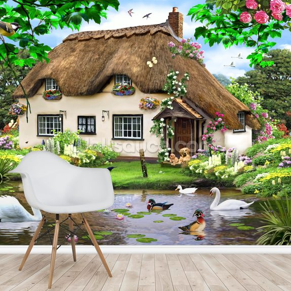 Swan cottage wall mural room setting