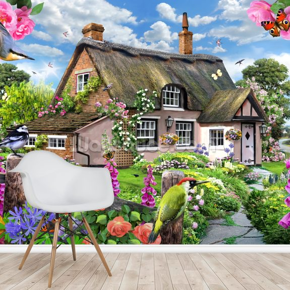 Foxglove cottage mural wallpaper room setting