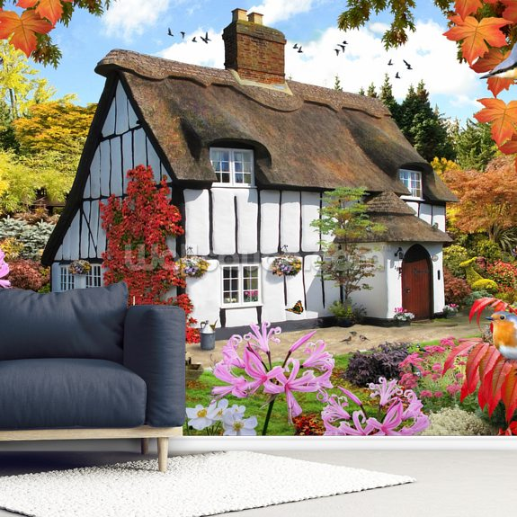 Sedum Cottage mural wallpaper room setting