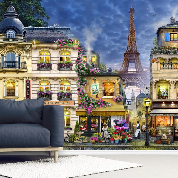 Paris wall mural room setting