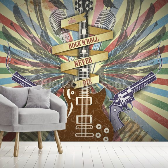 Rock n Roll wall mural room setting