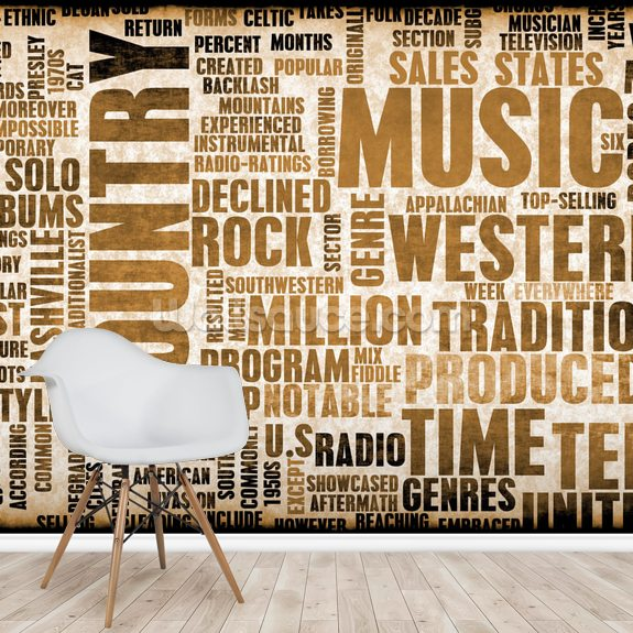 Country Music wallpaper mural room setting