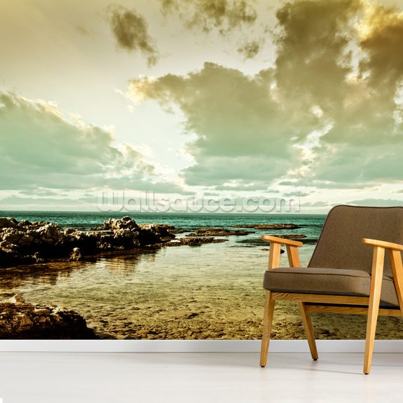 Vintage Ocean View wall mural room setting