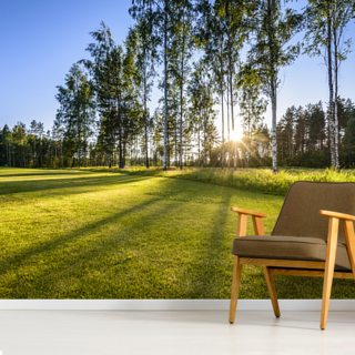 Sunset on golf course in Poalnd Wallpaper Wall Murals