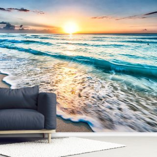 Cancun Beach Sunrise Mexico Wallpaper Wallsauce Us