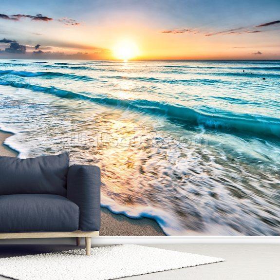 Cancun Beach Sunrise, Mexico mural wallpaper room setting