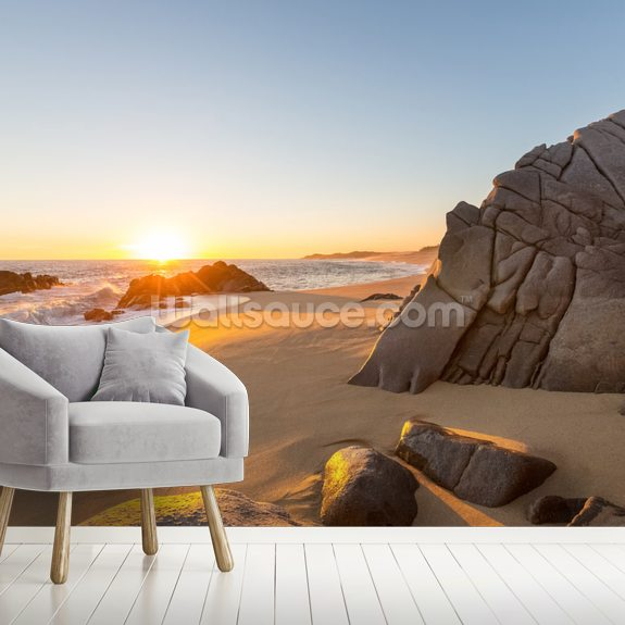 Coastal Sunset Over Beach wall mural room setting