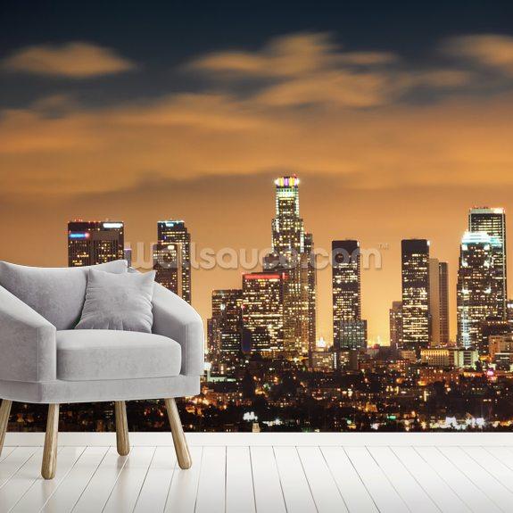 Wallpaper Los Angeles: Los Angeles Skyline Sunset Wallpaper Mural