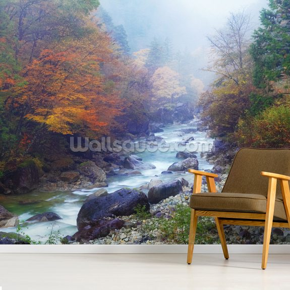 Misty Forest River mural wallpaper room setting