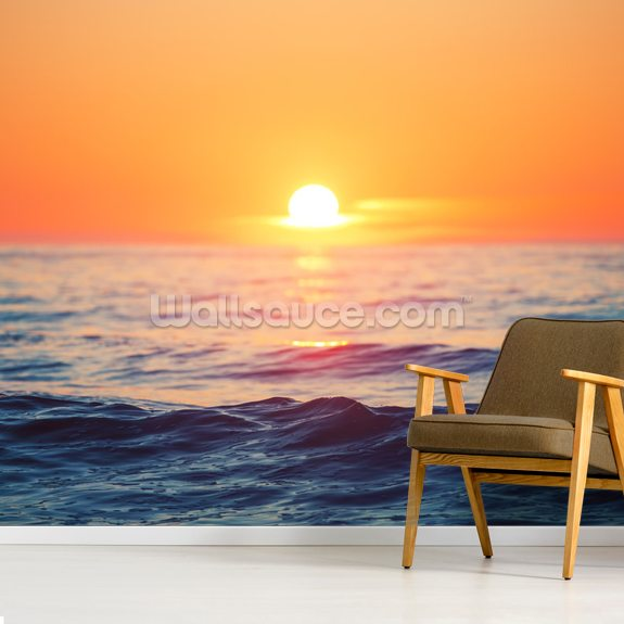 Orange Sunrise at Sea wall mural room setting