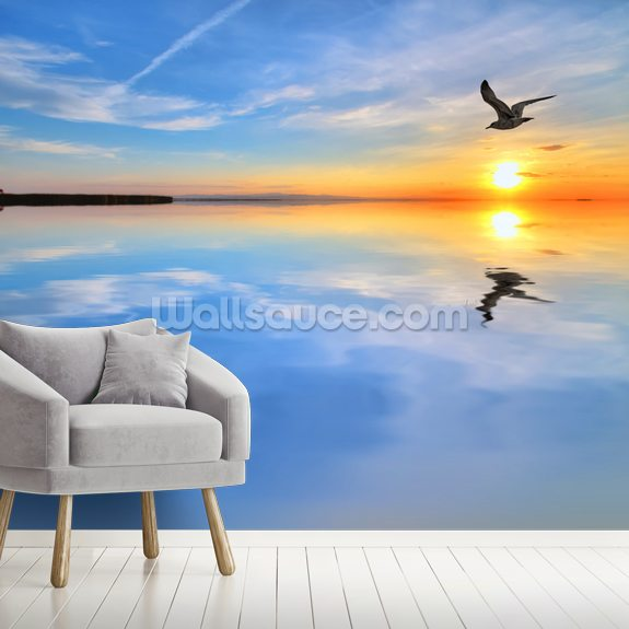 Blue Lake Reflections wallpaper mural room setting