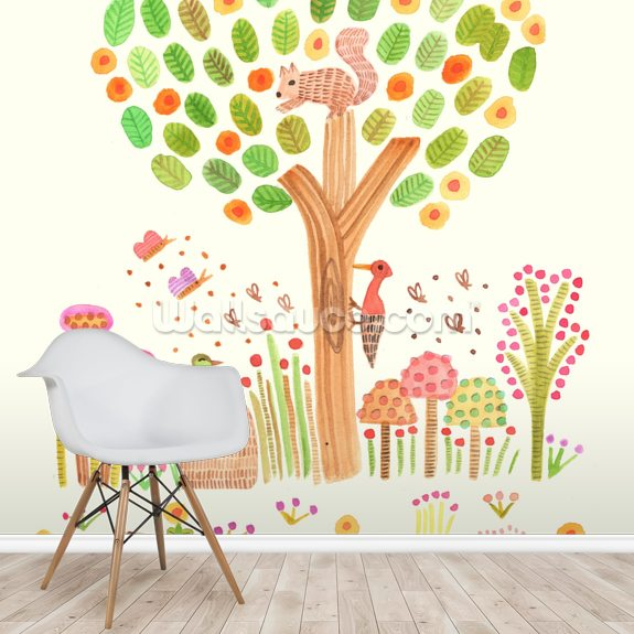 Animafauna wall mural room setting