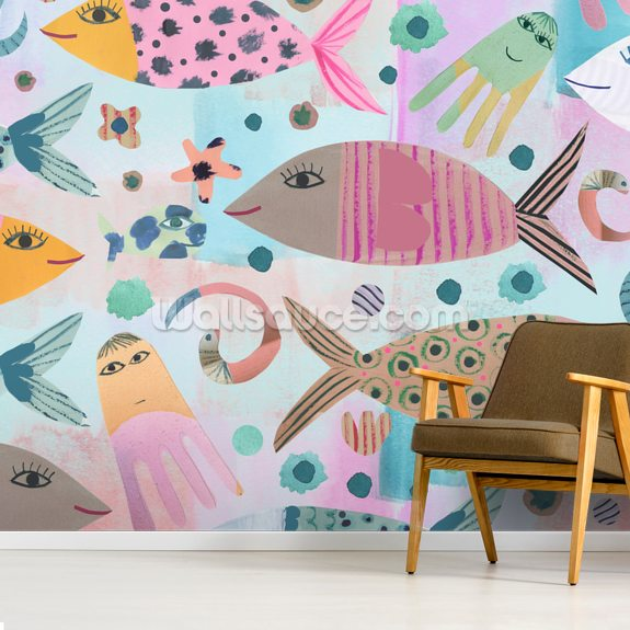 Aquarium wallpaper mural room setting