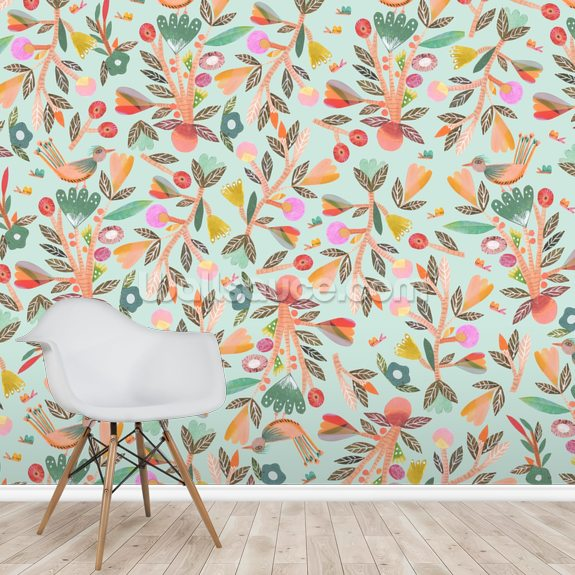 Birdsong wallpaper mural room setting