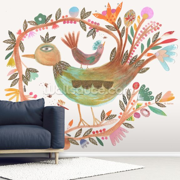 Birdsong 2 wall mural room setting