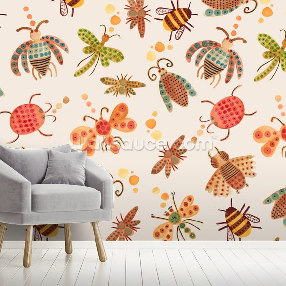 Bugs mural wallpaper room setting