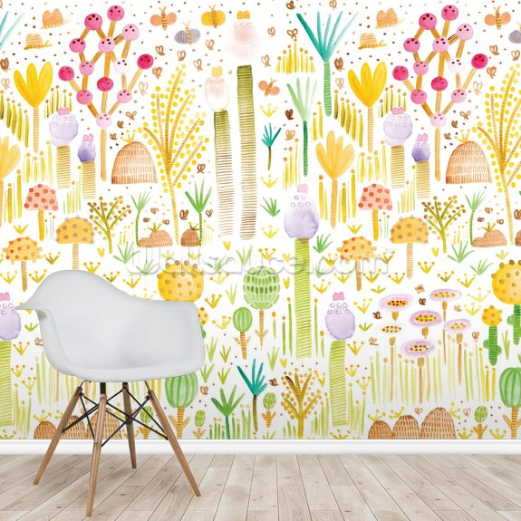 Cacti and Fungi Garden mural wallpaper room setting