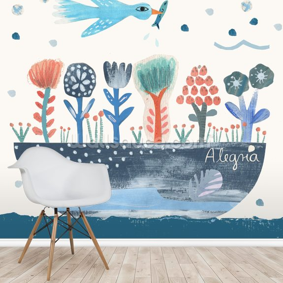 Coastal Birds wallpaper mural room setting