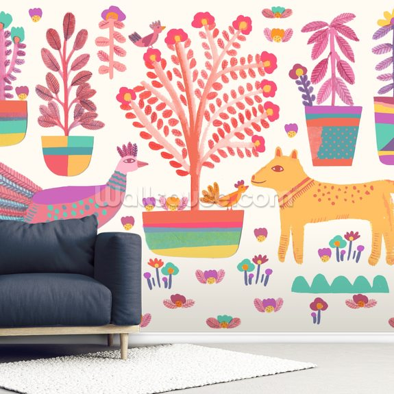 Dog and Peacock wallpaper mural room setting