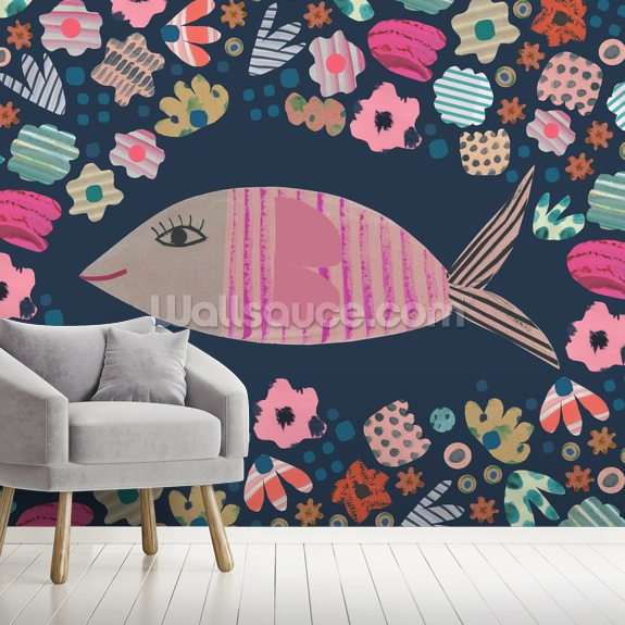 Fish Among Corals wallpaper mural room setting