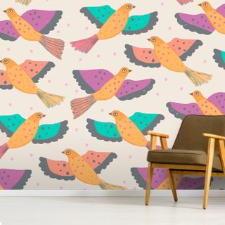 Flying Doves Pattern Wallpaper Wall Murals