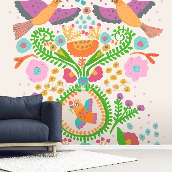 Folk Doves mural wallpaper room setting