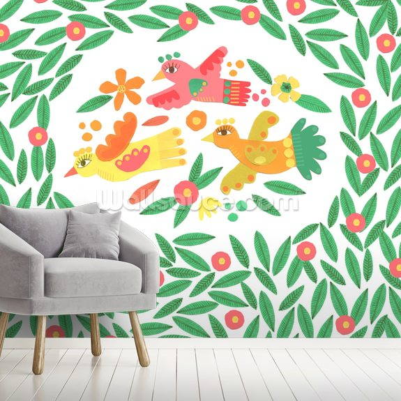Lying Birds Among Leaves mural wallpaper room setting