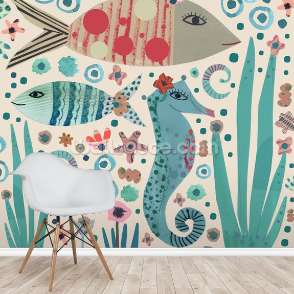 Seahorse and Fish wall mural room setting