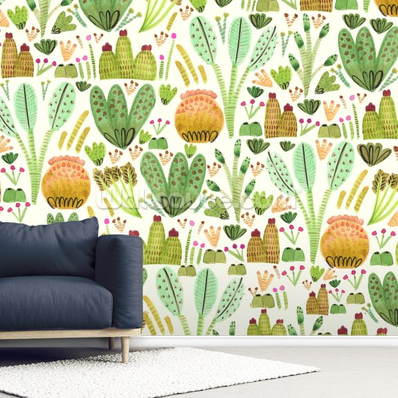 Succulent Garden wallpaper mural room setting