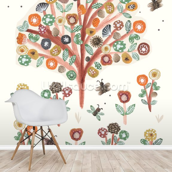 Trees and Flowers mural wallpaper room setting