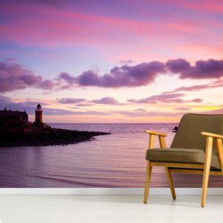Portpatrick Lighthouse at Sundown Wallpaper Wall Murals