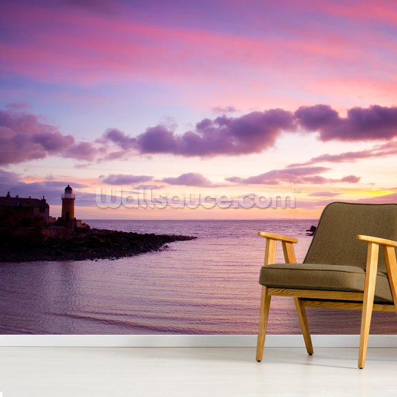Portpatrick Lighthouse at Sundown mural wallpaper room setting