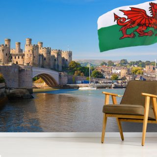 Conwy Castle and Welsh Flag