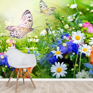 Butterflies and Flowers Wallpaper Wall Murals