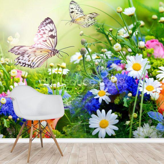 Butterflies And Flowers Wallpaper Mural Wallsauce Eu