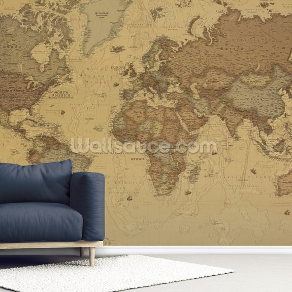 Rustic World Map wall mural room setting