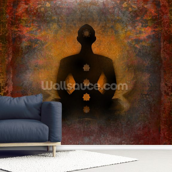 Padmasana with Chakra Points mural wallpaper room setting